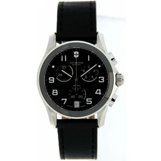Swiss Army 241545 Chrono Black Dial Leather Strap 41mm Mens Watch Fast SHIP