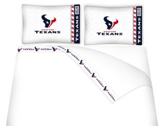 NFL Houston Texans Bedding Accessories Queen Sheet Set Football Sheets Decor