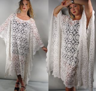 Vintage White Crochet 3D Rose Lace Kaftan Plus Angel Sleeves Dress Wedding M XXL