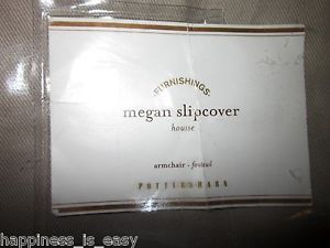 Pottery Barn Megan Arm Chair Dining Twill Slipcover Short Length Stone New