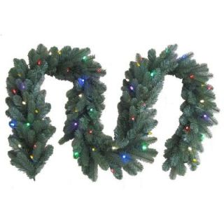 Christmas Holiday GE 9 ft LED Pre Lit Black Hills Garland Multi Color Lights