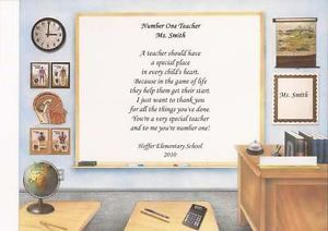 Number One Teacher Poem Great Gift for Teacher to Show Appreciation