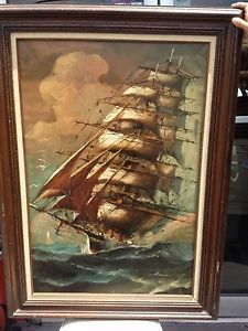 Hermann Signed Antique Oil Panting Nautical Ocean Art Vintage Wood Frame