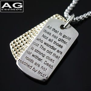 "Dog Tag Military Serial Number Chain Poem Steel Pendant Necklace 18"" Chain"