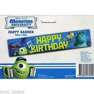 Monsters University Kids Party Supplies Happy Birthday Banner Sign Decoration