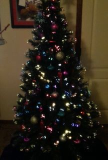 6ft Fiber Optic Christmas Tree w Ornaments and More