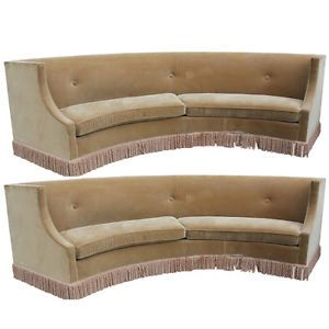 "Pair Monumental Art Deco Sofas from Biltmore Hotel ""Lejeune"" 1940'S"