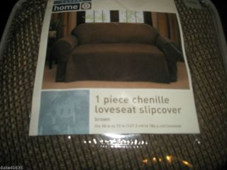 New Casual Home Target 1 Piece Brown Chenille Loveseat Slipcover Love Seat Brow