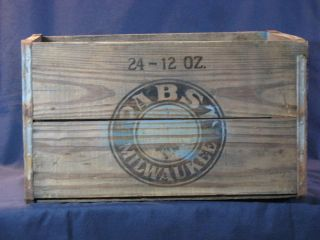 Vintage Wooden Pabst Blue Ribbon Beer Box Crate Carrier 736
