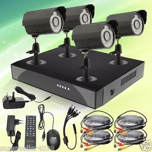 Real Time 4CH H 264 CCTV DVR Security System 4 Color Outdoor Night Vision Camera