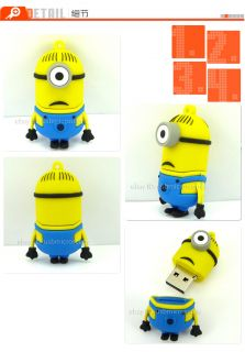 New 3D Cute Despicable Me 2 Minions Cartoon USB Flash Drive 8GB Real Capacity