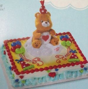 DecoPac Tenderheart Care Bear Plush Toy Sitting on A Plastic Cloud Cake Topper