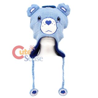 Care Bears Grumpy Bear Knitted Lapland Hat Beanie with Ear Flap Teen Adult
