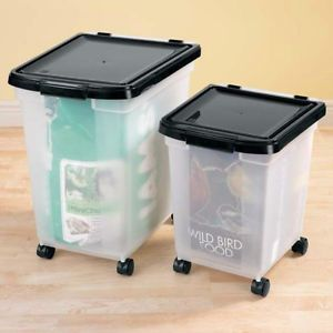 Rolling Storage Bins Holds 25 or 50 Bags Dog Cat Bird Food Container Air Tight