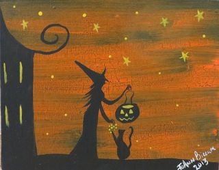 Original Halloween Folk Art Painting Josiez Witch Black Cat Kitty Cat NIP