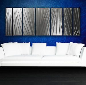 Modern Abstract Metal Wall Art Silver Painting Sculpture Home Decor in Outdoor