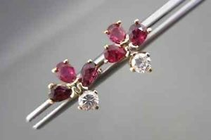 Antique 14kt Yellow Gold 1 20ct AAA Ruby Diamond Flower Stud Earrings 2030