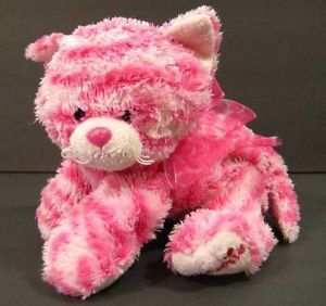 "9"" Pink White Striped Sweetie Cat Kitten Aurora Plush Soft Stuffed Animal Toy B2"