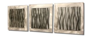 Modern Pewter Color Wall Art Contemporary Metal Artwork Abstract Grey Wall Decor