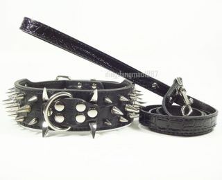 Spikes Studded Leather Dog Collar Leash Lead Set for Pitbull Terrier Bulldog