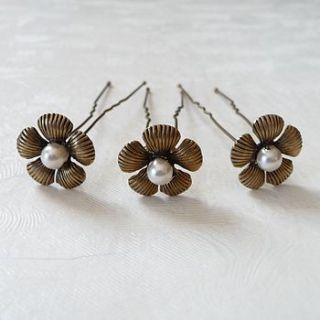 set of three antique gold flower hair pins by katherine swaine