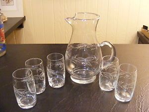 Vintage Etched Glass Water Juice Pitcher 5 Glasses Wheat Leaf Pattern
