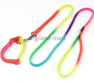 "47"" Colorful Pet Dog Collar Neck Strap Neckband Leash w Bell 1 0 120cm"