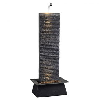 Natural Black Stone Table Wall Water Fountain with Water Feature Pump and Light