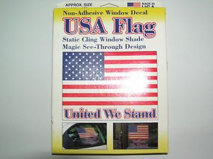 "Static Cling Window Shades USA American Flag Decal ""United We Stand"" 11x12"
