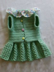 Crocheted Pet Dog Clothes Apparel Sweater Dress Coat Baby Green Small