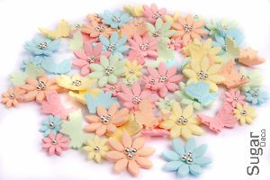 100 Pastelic Edible Sugar Flowers Butterflies Cake Cupcake Topper Decorations