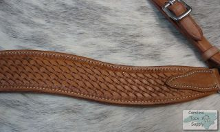 Medium Oil Leather Western Breast Collar w Basketweave Tooling New Horse Tack