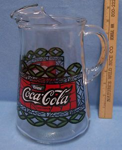 Coca Cola Coke Glass Juice Water Pitcher w Green Red Stained Glass Design Used
