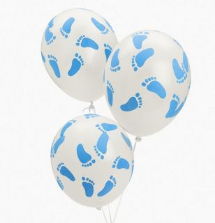 6 Baby Shower Blue Baby Feet Balloons Boy's Party Decorations
