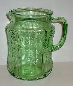 Vintage Green Spoke Patrician Water Pitcher Depression Glass