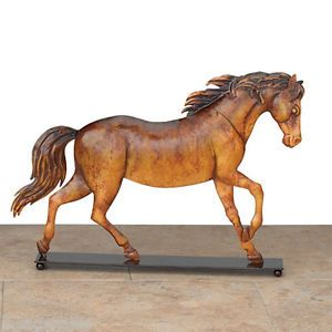 Equestrian Horse Metal Table Decor Regal Art 14x10 w Stand Well Made