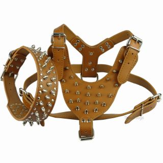 3 Sizes Coffee New Leather Studded Dog Harness Collar Set for Pitbull Bully Soft