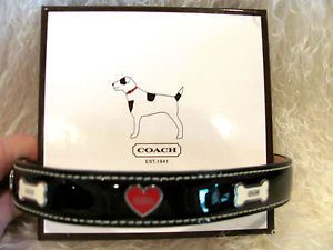New RARE Coach Dog Collar Black Patent Leather White Bones Red Hearts Medium