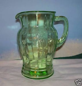 Green Depression Glass Water Pitcher Cameo Hocking