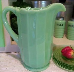 Large Art Deco Jadeite Jadite Green Milk Glass Water Lemonade Milk Juice Pitcher