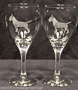 Colored Bull Terrier Dog Laser Etched Teardrop Wine Glass PR