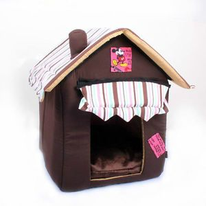 New Soft Cozy Luxury Chocolate Tent Dog Cat House Pet Bed M Brown