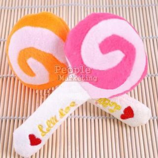 Pet Dog Puppy Cat Animal Squeaky Squeaker Sound Toy Chews Cotton Wool Lollipop