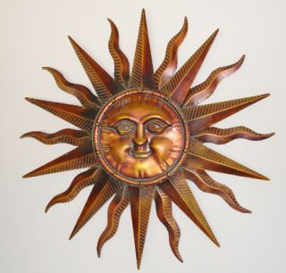 Copper Patina Sun Face Extra Large Sunburst Metal Wall Art Hanging Decor 40""