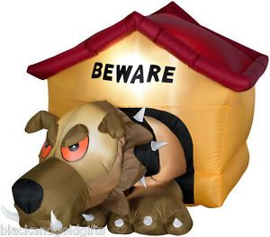 Gemmy Halloween Airblown Inflatable Animated Hell Hound Dog House Yard Decor New