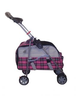 Pink Plaid 3 in 1 Pet Dog Cat Stroller Carrier Car Seat