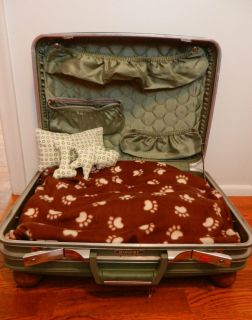 Vintage Suitcase Dog Cat Bed Large