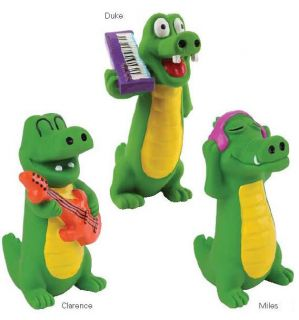Zanies Groovin' Gators Dog Toy Alligator Squeaky Latex Dog Toys Squeaker 8 Inch