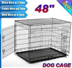 "New 2 Doors 48"" Large Folding Metal Pet Dog Crate Cage Kennel US Seller"