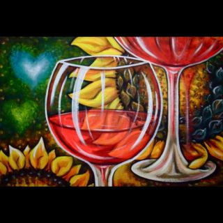 Red Wine Glasses Sunflowers Original Painting Olie Art Flowers Winery Abstract